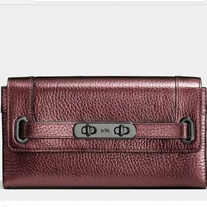 Coach Swagger Metallic Pebble Leather Wallet NWT